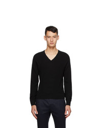 Saint Laurent Black Cashmere V Neck Sweater