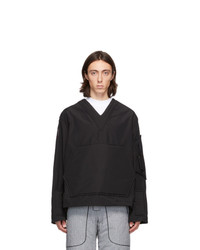 Boramy Viguier Black Cotton And Nylon Field Sweater