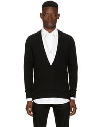 Givenchy Black Deep V Neck Sweater