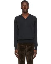 Tom Ford Black Knit V Neck Sweater