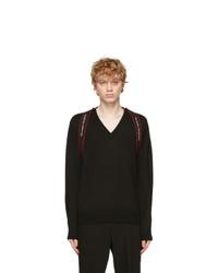 Alexander McQueen Black Logo V Neck Sweater
