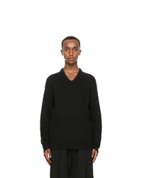 Lemaire Black Shetland Wool V Neck Sweater