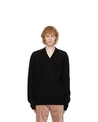 Rochas Homme Black Wool Eyelet Sweater