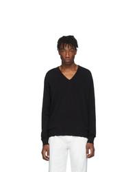 Maison Margiela Black Wool V Neck Sweater