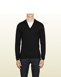 Gucci Black Wool V Neck Sweater