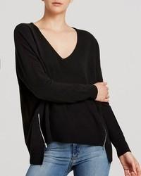 Aqua Cashmere Sweater V Neck Zip