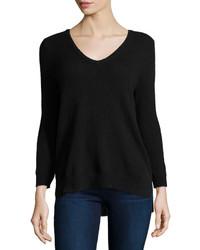 Neiman Marcus Cashmere V Neck Basic Sweater Black