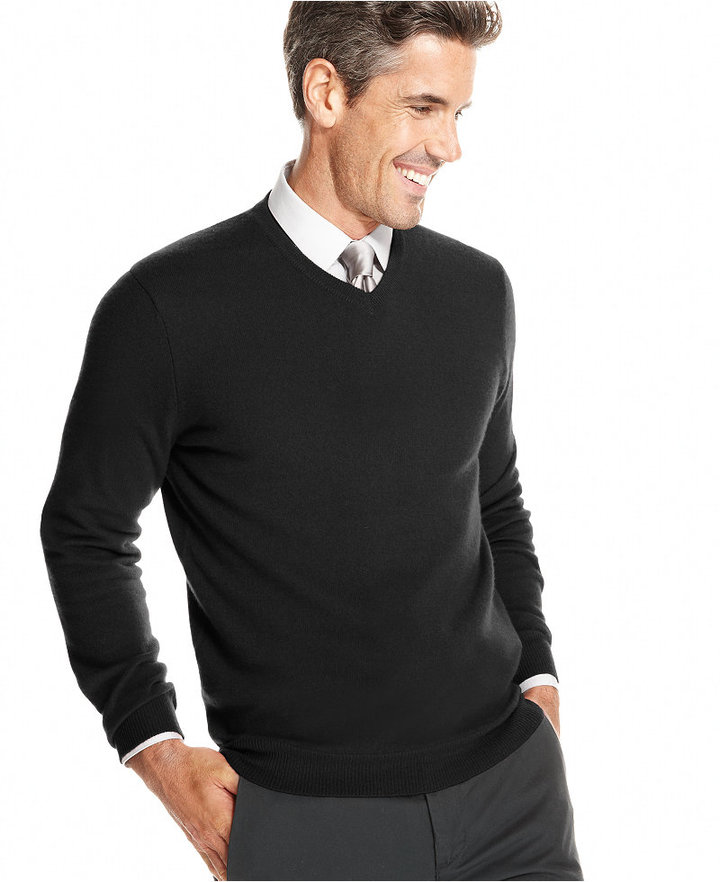 Club Room Cashmere V Neck Solid Sweater Only At Macys | Where to ...