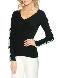 Vince Camuto Contrast Sleeve Ribbed Sweater
