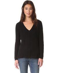 Deep v neck variegated rib sweater medium 802387