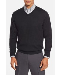 Cutter & Buck Douglas Merino Wool Blend V Neck Sweater