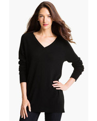 Equipment asher v neck cashmere sweater black large medium 87827