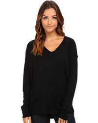 BCBGeneration Faux Leather V Neck Pullover Sweater Rtp1t249