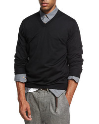 Brunello Cucinelli Fine Gauge V Neck Sweater