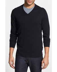 Kenneth Cole Reaction Kenneth Cole Collection Silk Cotton V Neck Sweater Black Small
