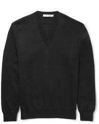 Givenchy Knitted Cotton V Neck Sweater