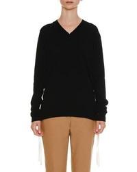 Jil Sander Lacing Sides V Neck Cashmere Knit Sweater