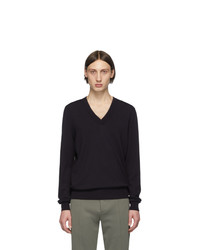 Maison Margiela Navy Elbow Patch V Neck Sweater
