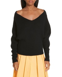 Ji Oh Off The Shoulder Wool Cashmere Sweater
