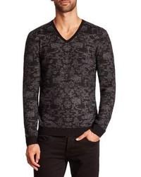 John Varvatos Patterned Long Sleeve Sweater