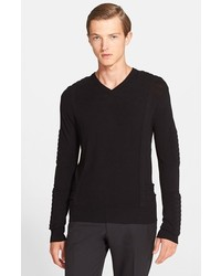 Balmain Pierre Moto V Neck Sweater With Padded Trim