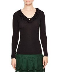 Sandro Ruffle Trim V Neck Sweater