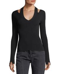 The Row Stretch Knit Slit V Neck Sweater
