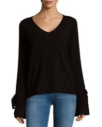 Tie Sleeve V Neck Cashmere Sweater