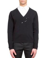 Givenchy V Neck Hole Wool Sweater