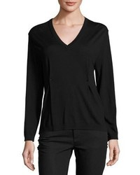 Valentino V Neck Rockstud Pintuck Sweater Black
