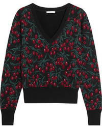 Chloé Wool Blend Jacquard Sweater Black