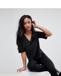 36b2a24afa46e ... Asos Petite Asos Design Petite Shirt With V Neck In Linen Mix In Black