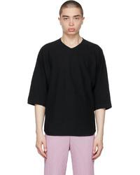 Homme Plissé Issey Miyake Black Cotton Linen T Shirt
