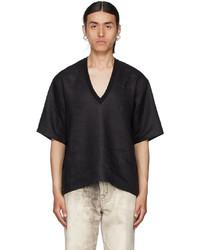 Bless Black Linen V Neck T Shirt