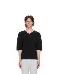 Homme Plissé Issey Miyake Black Mc April V Neck T Shirt