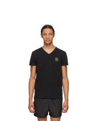 Versace Underwear Black Medusa V Neck T Shirt