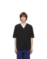 3.1 Phillip Lim Black Oversized Optic Boxy V Neck T Shirt