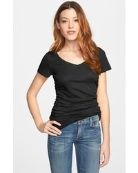 Caslon shirred v neck tee black medium p medium 56085