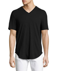 Versace Collection Glass Triangle Trim V Neck T Shirt Black
