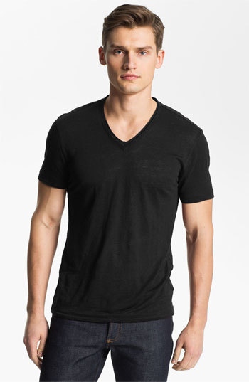 John Varvatos Collection V Neck Linen T Shirt 178 Nordstrom
