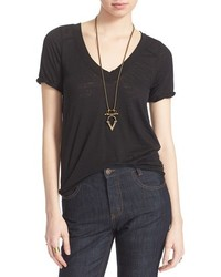 Pearls raw edge v neck tee medium 397845