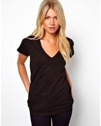 Asos T Shirt With V Neck Black