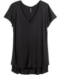 H&M V Neck T Shirt Black Ladies