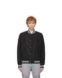 Balmain Black And White Logo Bomber Jacket