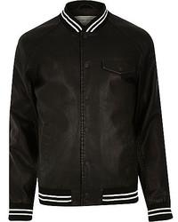 River Island Black Casual Stripe Trim Varsity Jacket