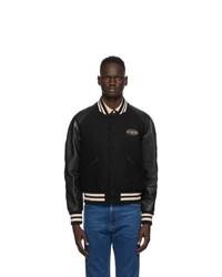 Gucci Black Felt And Leather Bomber Jacket