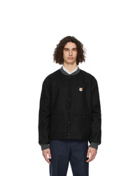 MAISON KITSUNÉ Black Fox Head Teddy Bomber Jacket