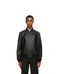 Burberry Black Lambskin Bomber Jacket