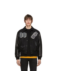 Off-White Black Leather Golden Ratio Varsity Jacket