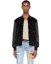 Amiri Black Velvet Satin Bomber Jacket